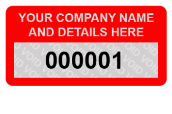 SERIAL NUMBER Tamper Evident /'VOID/' Security Labels 50 x 25mm PERSONALISED